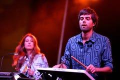 Abandone el concierto (de la banda electrónica) en el Musical de Barcelona Accio (el BAM) Fotos de archivo libres de regalías