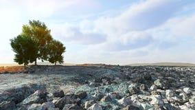Abandone el paisaje con las rocas y el fondo del concepto de los árboles Fotografía de archivo libre de regalías