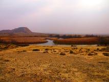 Abandone el paisaje del Bardenas Reales en Navarra Fotos de archivo