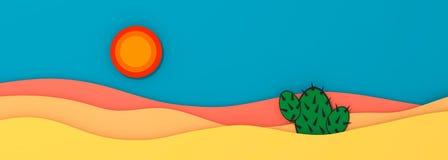 Abandone el paisaje del panorama con el ejemplo del cactus y del sol 3D stock de ilustración