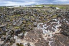 Abandone el paisaje en el área geotérmica Hveravellir, Islandia Foto de archivo