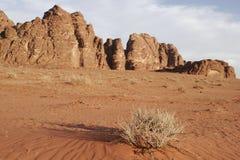 Abandone el paisaje, ron del lecho de un río seco, Jordania, Oriente Medio Imágenes de archivo libres de regalías
