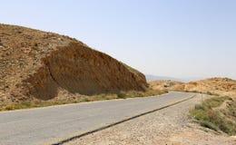 Abandone el paisaje y el camino, Jordania, Oriente Medio de la montaña Fotografía de archivo libre de regalías