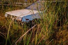 Abandone gamla bilar in i haverier djupt i skogar Arkivfoto