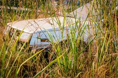Abandone Old Cars turned into wrecks. Deep in forests Royalty Free Stock Photography