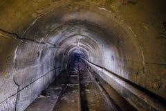 Abandoned översvämmade tunnelen för den underjordiska minen med den rör- och smal-måttet järnvägen Royaltyfria Foton