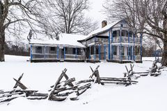 Abandoned Able Gabbard House in the Snow - Kentucky. A winter view of the abandoned Able Gabbard House near McKee, Kentucky stock photography