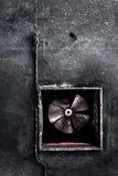 Abandoned air conditioning duct and rusted fan Stock Images