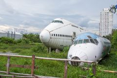 Abandoned Airplane,old crashed plane with,plane wreck tourist at Royalty Free Stock Image