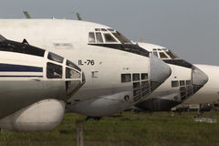 Abandoned airplanes in an aircraft graveyard Stock Photos