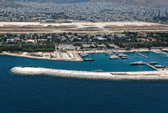 Abandoned airport of Elliniko and Agios Kosmas marina aerial, At Stock Image