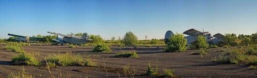 Abandoned airport. Old Soviet aircraft Antonov An-2 stock photos