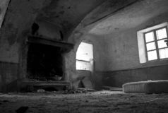 Abandoned alpine house. Interior of abandoned house in the Alps royalty free stock photography