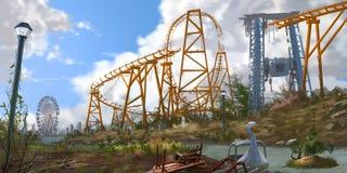 Abandoned Amusement Park. Fiction Backdrop. Concept Art. Realistic Illustration. Video Game Digital CG Artwork. Nature Scenery vector illustration