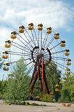 Abandoned amusement park in Pripyat. Abandoned ferris wheel in amusement park in Pripyat, Chernobyl area Stock Image