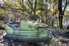 Abandoned amusement park in the Pripyat city Royalty Free Stock Image