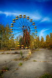 Abandoned amusement park in the Pripyat city, the Chernobyl disaster, the exclusion zone, a ghost town Royalty Free Stock Image