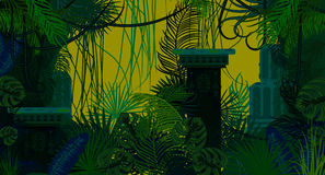 Abandoned ancient jungle nature background. Dark green and blue palm leaves, tree branches and mayan ruins vector vector illustration