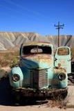 Abandoned antic old truck. Abandoned antic old truck, classic car, age automobile, forgotten rusty vehicle, broken headlight,  front grille, broken headlight Royalty Free Stock Photo