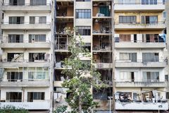 Abandoned appartement flat with trash on the balconies, Beirut Lebanon. Abandoned appartement flat with trash on the broken balconies, Beirut Lebanon Stock Image