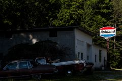 Abandoned Ashland Gasoline Station - Kentucky. A view of a long abandoned Ashland gasoline station in southern Kentucky royalty free stock photography