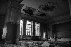 Abandoned assembly hall at the School, house of art. The concept of destruction and decline of culture and art. black and white royalty free stock photography