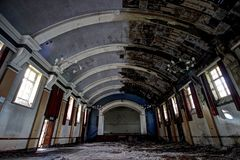 Abandoned asylum hall Royalty Free Stock Image