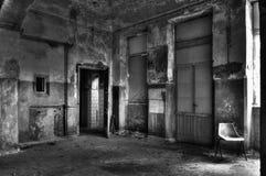 Abandoned asylum. Scene of abandoned asylum in black and white Stock Photo