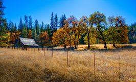 Abandoned Autumn Barn. An abandoned barn sit amid the sugar candy colors of late fall in rural Colusa County, California stock images