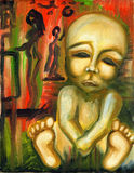 Abandoned baby. Abstract colorful painting Stock Photos