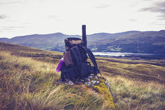 Abandoned backpack in the wilderness Stock Images
