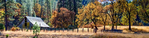 Abandoned Barn in Autumn. An abandoned barn sit amid the sugar candy colors of late fall in rural Colusa County, California royalty free stock photo