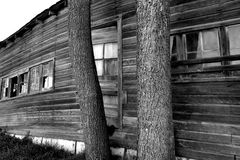 Abandoned barn in black and white Royalty Free Stock Photo
