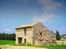Abandoned barn in France. Old shack in SunFlower and Lavender Fields in the Provence, France Royalty Free Stock Photo
