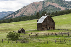Abandoned barn in meadow farmscape Stock Photos
