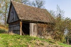 Abandoned barn mountainbiking Royalty Free Stock Images