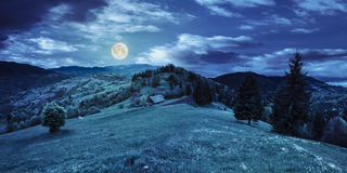 Abandoned barn in mountains at night. Abandoned farm field with ruined barn in mountains near coniferous forest at night in full moon light Stock Image