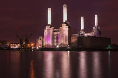 Abandoned Battersea power station at night Stock Photo