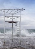 Abandoned beach life guard tower Stock Images