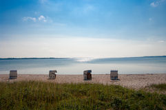 Abandoned beach. Sunny beach in Northern Germany Royalty Free Stock Images