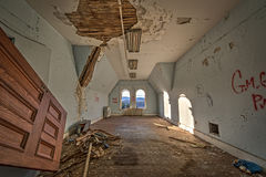 Abandoned bedroom in Hudson River State Hospital. Dilapidated bedroom in an abandoned asylum Royalty Free Stock Photo