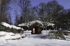 Abandoned Beer-Garden In Wintertime Stock Photography