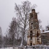 Abandoned bell tower in the cemetery