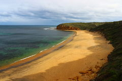 Abandoned Bells beach on Great Ocean Road. Abandoned Bells beach with cloudy sky on Great Ocean Road during winter time Stock Photography