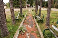 Abandoned benches Stock Image