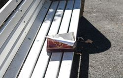 Abandoned Bible on a Bench royalty free stock images