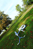 Abandoned bicycle. An abandoned bicycle in a field in Cranfield, United Kingdom Royalty Free Stock Photography