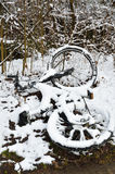 Abandoned bicycle in the winter park Stock Photography