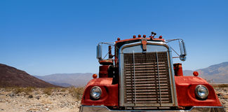 Abandoned Big Old Truck On Desert Royalty Free Stock Images