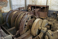 Abandoned big pulley mine. Stock Images